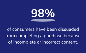 98% of consumers have been dissuaded from completing a purchase because of incomplete or incorrect content